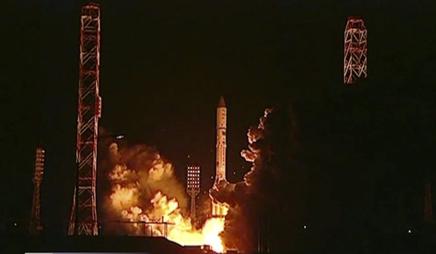 In this frame grab made from a video provided by Russia 1 Channel, Russian rocket Proton-M is launched from Baikonur launch pad in Kazakhstan, Saturday, May 16, 2015. A Russian rocket carrying a Mexican satellite malfunctioned Saturday shortly after its launch, the latest mishap to hit Russia's troubled space industry, whose Soviet-era glory has been tarnished by a series of launch failures. The sign on bottom reads News on Saturday. (Russia 1 Channel via AP) ** FILE **