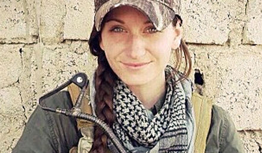 Samantha Johnston of Emerald Island, North Carolina left her family behind to help Kurds in Iraq take on the Islamic State group. Ms. Johnson is an Army veteran who previously served as an engineer. (Image: Facebook, Samantha Johnston) ** FILE **