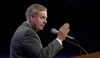 Sen. Lindsey Graham, R-S.C., speaks during the Iowa Republican Party's Lincoln Dinner, Saturday, May 16, 2015, in Des Moines, Iowa. (AP Photo/Charlie Neibergall) ** FILE **