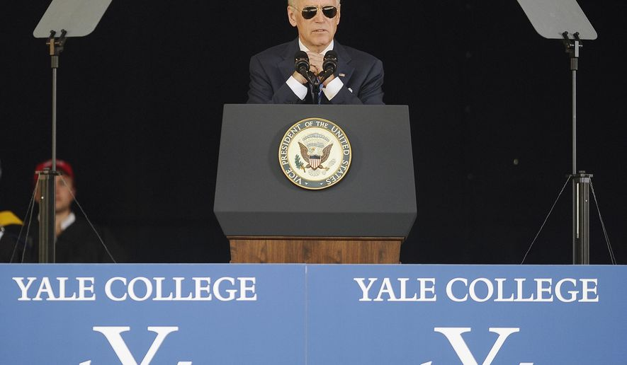 Vice President Joe Biden delivers the Class Day Address at Yale University, Sunday, May 17, 2015, in New Haven, Conn. Biden urged graduating students to question the judgment of others, but not their motives to build consensus. (AP Photo/Jessica Hill)