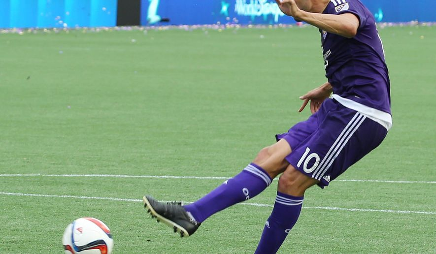 Orlando player Kaka (10) scores a goal during an MLS soccer game against the Los Angeles Galaxy in Orlando, Fla., Sunday, May 17, 2015. Orlando City won 4-0. (Stephen M. Dowell/Orlando Sentinel via AP) MANDATORY CREDIT MAGS OUT, NO SALES
