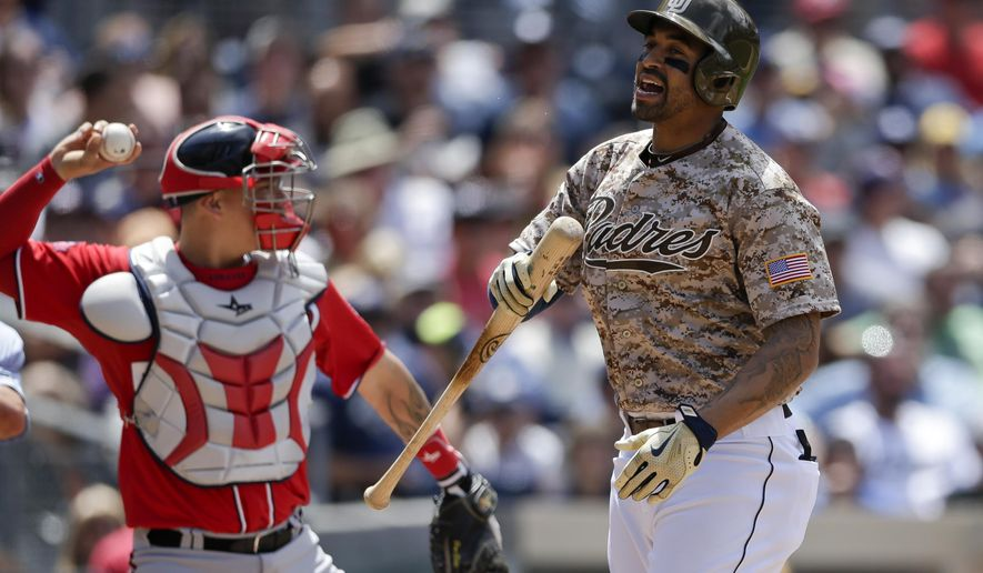 San Diego Padres' Matt Kemp, right, reacts after striking out while Washington Nationals catcher Jose Lobaton, left, returns the ball during the third inning in a baseball game Sunday, May 17, 2015, in San Diego. (AP Photo/Gregory Bull)