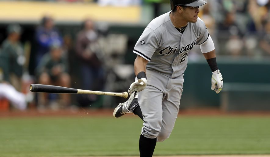 Chicago White Sox's Avisail Garcia drops his bat after hitting a two-run home run off Oakland Athletics' Tyler Clippard in the ninth inning of a baseball game Sunday, May 17, 2015, in Oakland, Calif. (AP Photo/Ben Margot)