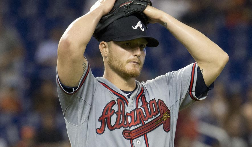 Atlanta Braves starting pitcher Shelby Miller reacts at the end of a baseball game against the Miami Marlins after giving up two hits in the ninth inning in Miami, Sunday, May 17, 2015. The Braves won 6-0. (AP Photo/J Pat Carter)