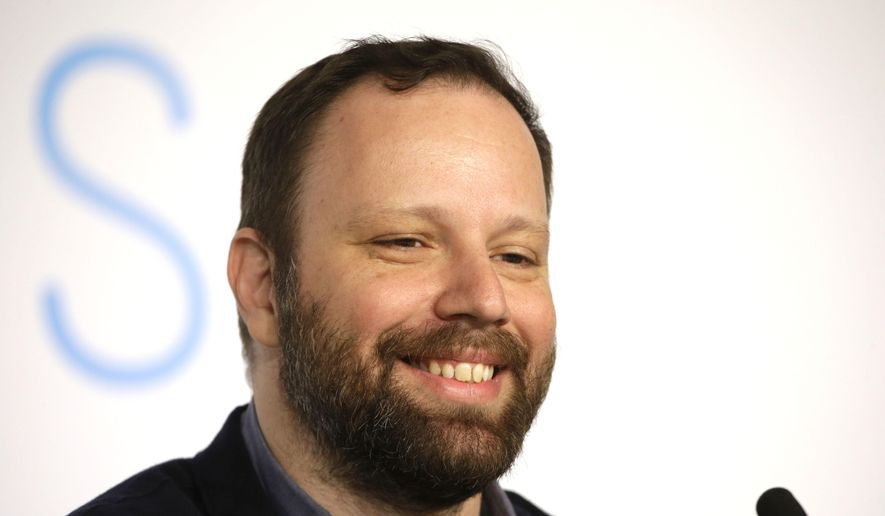 Director Yorgos Lanthimos attends a press conference for the film The Lobster, at the 68th international film festival, Cannes, southern France, Friday, May 15, 2015. (AP Photo/Lionel Cironneau)