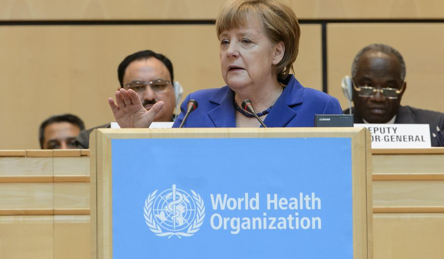 German Chancellor Angela Merkel, speaks during the opening of the 68th World Health Assembly at the European headquarters of the United Nations in Geneva, Switzerland, Monday, May 18, 2015. (Jean-Christophe Bott/Keystone via AP)