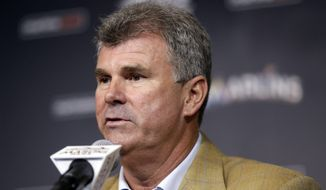 Miami Marlins new general manager Dan Jennings speaks during a news conference where he was named manager of the Marlins, Monday, May 18, 2015, in Miami. Jennings replaces Mike Redmond who was fired Sunday after the Marlins were nearly no-hit in a 6-0 loss to the Atlanta Braves that completed a three-game sweep. (AP Photo/Lynne Sladky)