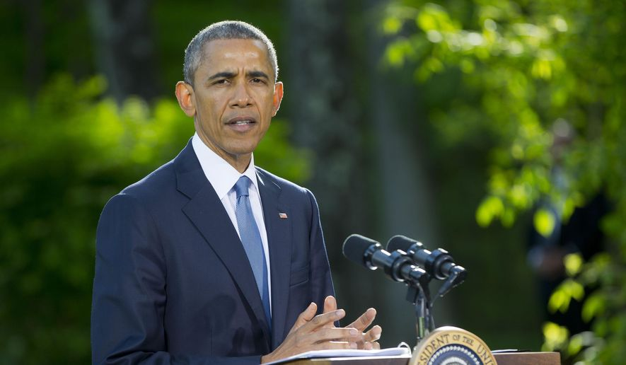 In a Thursday, May 14, 2015, file photo, President Obama speaks during a news conference after meeting with Gulf Cooperation Council leaders and delegations at Camp David in Maryland. In a surprise announcement on Monday, May 18, 2015, coming nine months after police in riot gear dispelled racially charged protests, President Obama is banning the federal government from providing some military-style equipment to local departments and putting stricter controls on other weapons and gear distributed to law enforcement. (AP Photo/Pablo Martinez Monsivais, File)