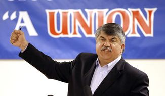 National AFL-CIO President Richard Trumka speaks in Portland, Ore., on May 18, 2015, about the organization's concerns over the Trans-Pacific Partnership treaty that President Obama is pushing. (Associated Press) **FILE**