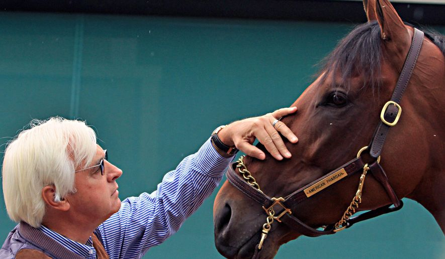 Hall of Fame trainer Bob Baffert rubs the face of American Pharoah as the Preakness-winning colt gets a bath outside the stakes barn Sunday, May 17, 2015, at Pimlico Race Course in Baltimore.  (AP Photo/Garry Jones)