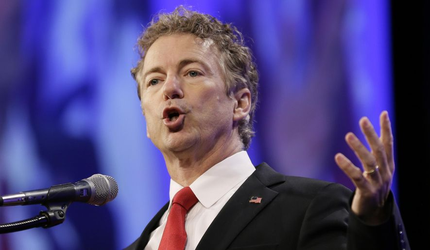 Republican presidential candidate Sen. Rand Paul speaks in Des Moines, Iowa, in this May 16, 2015, file photo. (AP Photo/Charlie Neibergall, File)