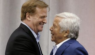 "FO:e - In this May 29, 2014, file photo, New England Patriots owner Robert Kraft, right, introduces NFL Commissioner Roger Goodell at a football safety clinic for mothers at the team's facilities in Foxborough, Mass. Kraft and Goodell have worked closely in bringing about the league's impressive growth. That alliance was strained with the league's punishment of Tom Brady and his team in the ""Deflategate"" scandal. (AP Photo/Stephan Savoia, File)"