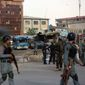 Afghan security forces inspect the site after a suicide car bombing attack in Kabul on Tuesday. The stepped-up tempo of terrorist strikes in the heart of Afghanistan's capital raises fresh questions about whether U.S. efforts to stand up and train Afghanistan's armed forces will ever pay off militarily. (Associated Press)