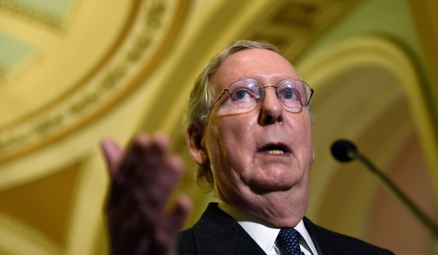 Senate Majority Leader Mitch McConnell is hoping to gather enough votes for at least a short-term extension of the Patriot Act. He supports the National Security Agency's phone-snooping program, which has generated heated debate in the Republican Party. (Associated Press) **FILE**