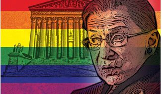 Illustration on Justice Ginsburg's bias in the pending decision on homosexual marriage     The Washington Times