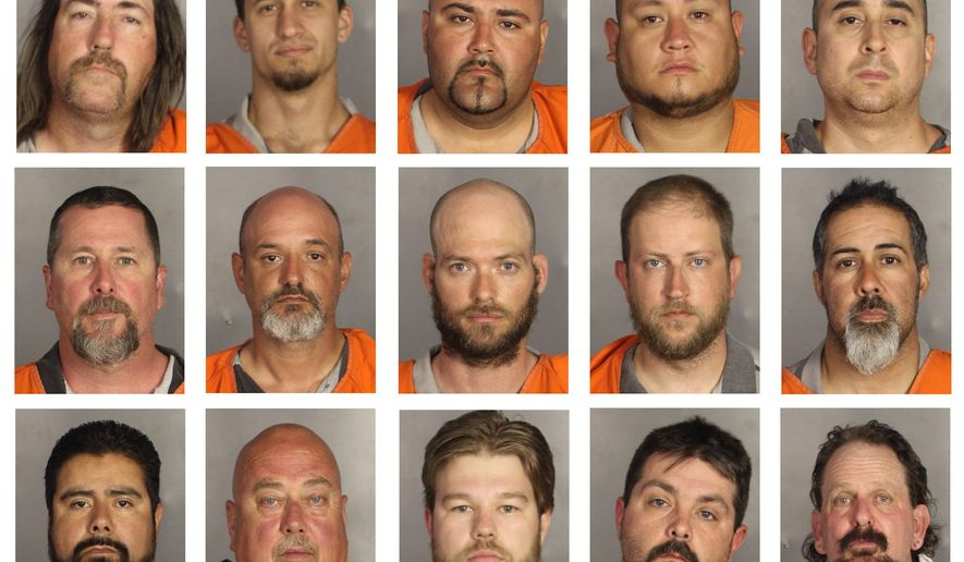 This combination of booking photos provided by the McLennan County Sheriff's office shows people arrested during the motorcycle gang related shooting at the Twin Peaks restaurant in Waco, Texas on Sunday, May 17, 2015. Top row from left; Ray Allen, Brian Brincks, Salvador Campos, Richard Cantu and David Cepeda. Middle row from left; Bohar Crump, James David, James Devoll, Matthew Folse and Juan Garcia. Bottom row from left; Mario Gonzalez, James Gray, Jim Harris, Michael Herring and Tommy Jennings.  (McLennan County Sheriff's Office via AP)