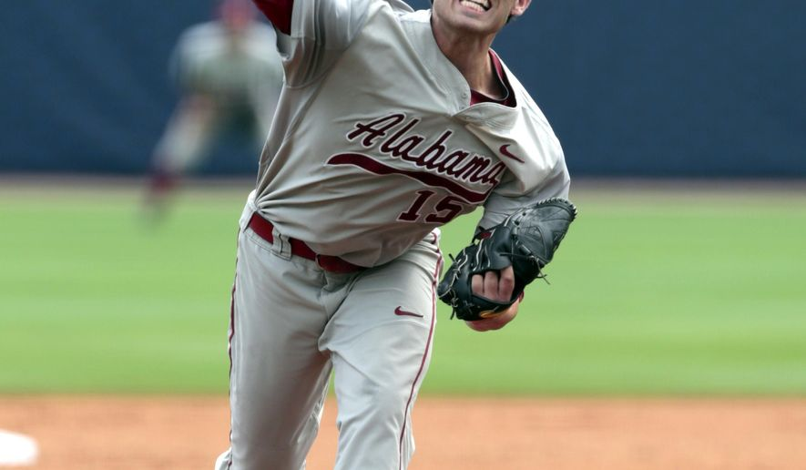 Alabama starting pitcher Geoffrey Bramblett (15) throws a pitch during the first inning against Mississippi in the Southeastern Conference college baseball tournament, Tuesday, May 19, 2015, in Hoover, Ala. (AP Photo/Butch Dill)