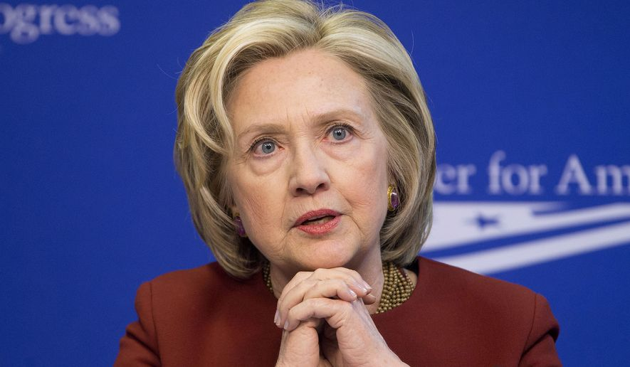 Former Secretary of State Hillary Rodham Clinton speaking at an event hosted by the Center for American Progress (CAP) and the America Federation of State, County and Municipal Employees in Washington, March 23, 2015. (Associated Press) ** FILE **