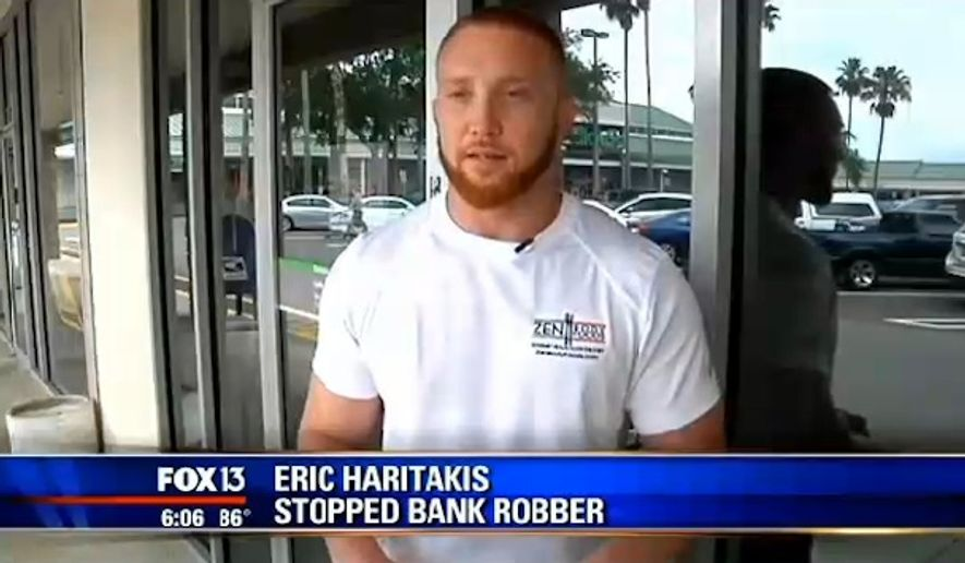 "Eric Haritakis, a Tampa Bay area MMA fighter nicknamed the ""Ginja Ninja,"" chased a man down and hog-tied him with duct tape after he witnessed the man rob a bank teller. (FOX 13)"