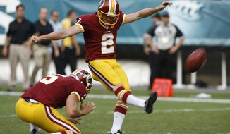 Washington Redskins kicker Kai Forbath, right, with Tress Way holding, kicks an extra point against the Philadelphia Eagles during the second half of an NFL football game Sept. 21, 2014 in Philadelphia. (Associated Press)