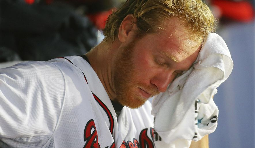 Atlanta Braves pitcher Mike Foltynewicz sits in the dugout during a baseball game against the Tampa Bay Rays,  Tuesday, May 19, 2015, in Atlanta.   (Curtis Compton/Atlanta Journal-Constitution via AP)  MARIETTA DAILY OUT; GWINNETT DAILY POST OUT; LOCAL TELEVISION OUT; WXIA-TV OUT; WGCL-TV OUT