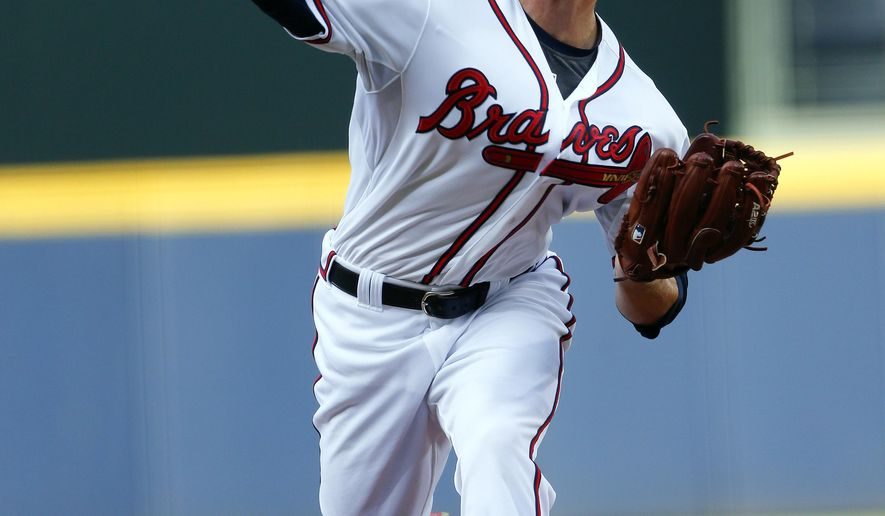 Atlanta Braves starting pitcher Mike Foltynewicz (48) works in the first inning of a baseball game against the Tampa Bay Rays Tuesday, May 19, 2015, in Atlanta.  (AP Photo/ John Bazemore)