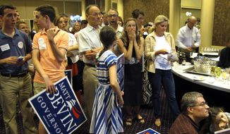 Supporters of Republican candidate for governor Matt Bevin express shock while watching primary race returns in Louisville, Ky., Tuesday, May 19, 2015. Bevin is locked in a tight race with Republican James Comer. (AP Photo/Dylan Lovan)