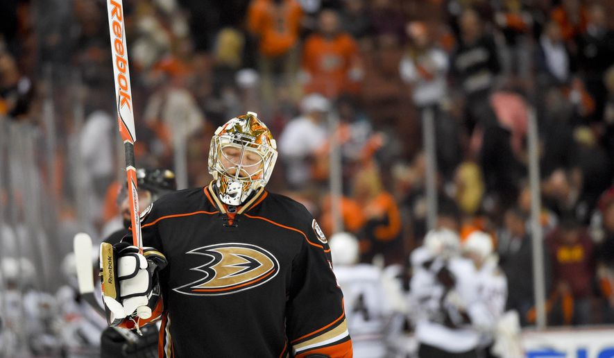 Anaheim Ducks goalie Frederik Andersen reacts to Chicago Blackhawks' Marcus Kruger's game winning goal during overtime in Game 2 of the Western Conference final during the NHL hockey Stanley Cup playoffs in Anaheim, Calif., on Tuesday, May 19, 2015. (AP Photo/Mark J. Terrill)