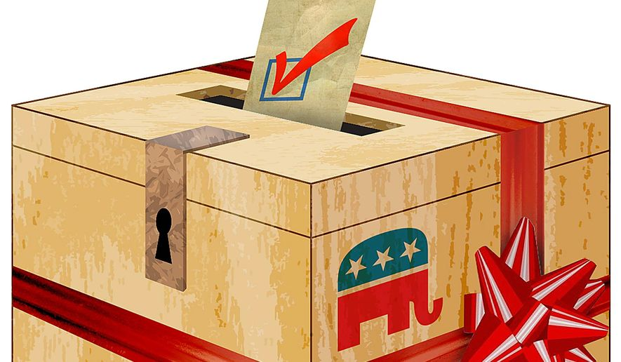 Gift Wrapping the GOP Brand Illustration by Greg Groesch/The Washington Times