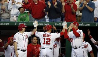 Washington Nationals' Tyler Moore (12) celebrates his solo home run during the fourth inning of an interleague baseball game against the New York Yankees at Nationals Park, Wednesday, May 20, 2015, in Washington. (AP Photo/Alex Brandon)