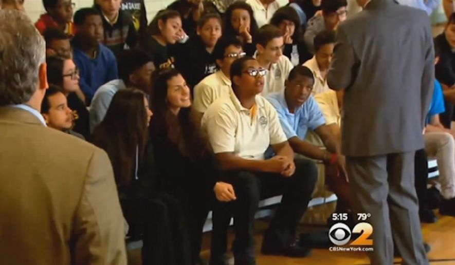 An FBI intelligence analyst, who did not wish to be identified, spoke at the Bergen Arts and Science Charter School in Bergen County, New Jersey, on Tuesday to warn students against joining the Islamic State militant group. (CBS 2)