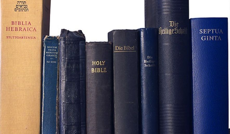 Stack of bibles in different languages