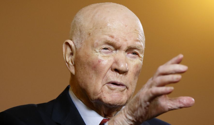 John Glenn, a former astronaut and senator, gestures while answering questions during an exclusive interview with The Associated Press at the Ohio Statehouse in this Thursday, May 14, 2015, file photo. (AP Photo/Paul Vernon)