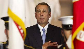 House Speaker John Boehner of Ohio, gets emotional during the opening of a ceremony awarding the Congressional Gold Medal to the American Fighter Aces,, Wednesday May 20, 2015, on Capitol Hill in Washington. (AP Photo/Jacquelyn Martin)