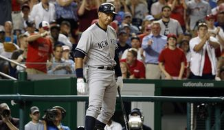 New York Yankees' Alex Rodriguez (13) reacts after he struck out during the ninth inning of an interleague baseball game against the Washington Nationals at Nationals Park, Tuesday, May 19, 2015, in Washington. The Nationals won 8-6 in 10 innings. (AP Photo/Alex Brandon)