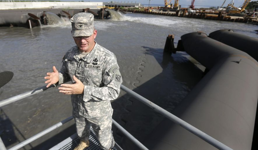 U.S. Army Corps of Engineers New Orleans District Commander, Col. Rick Hansen, talks to media at the 17th Street Canal pumping station in New Orleans, Wednesday, May 20, 2015. With hurricane season approaching, the Corps is running through its plans and testing pumps and floodgates built around New Orleans since Hurricane Katrina struck 10 years ago to better protect this low-lying metropolis from flooding. Corps officials said they found a few minor problems during the testing and were fixing them. Otherwise, officials said the system is ready and in better shape than ever before. Hurricane season starts on June 1 and lasts until Nov. 30. (AP Photo/Gerald Herbert)