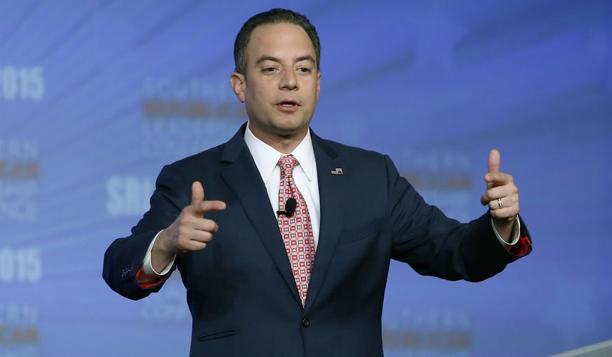 Republican National Committee Chairman Reince Priebus speaks at the Southern Republican Leadership Conference in Oklahoma City, on Thursday, May 21, 2015. (AP Photo/Alonzo Adams)