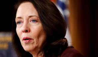 In this March 25, 2015, file photo, Sen. Maria Cantwell, D-Wash. speaks during a news conference on Capitol Hill in Washington. (AP Photo/Andrew Harnik) ** FILE **