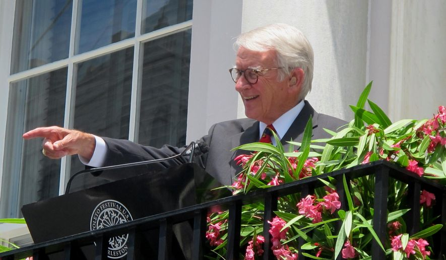 Charleston Mayor Joseph P. Riley Jr. points at a member of the audience during the opening ceremonies of the Spoleto Festival USA in Charleston, S.C., Friday, May 22, 2015. It was the last time Riley opened the festival he helped establish in Charleston almost 40 years ago. Riley is retiring at the end of the year. The 39th season of the arts festival continues through June 7, 2015. (AP Photo/Bruce Smith)