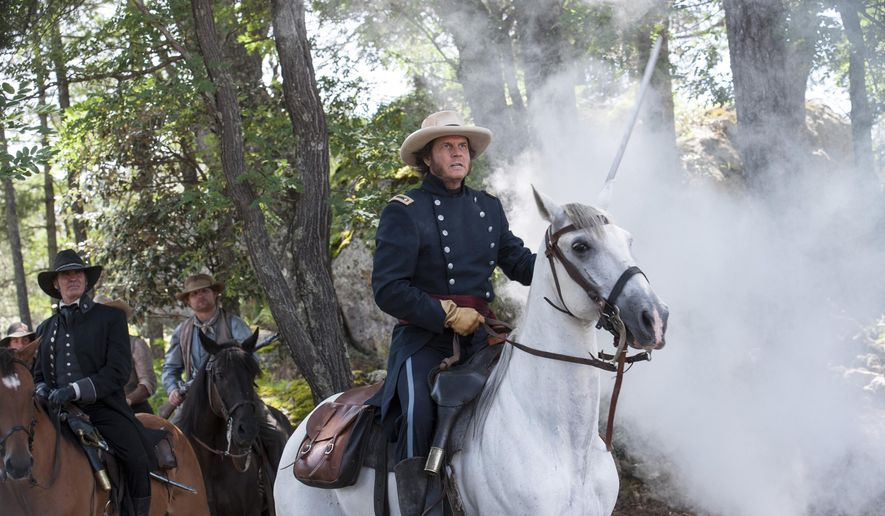 "This photo provided by History shows Jeff Fahey, left, as Thomas Rusk, and Bill Paxton as Sam Houston, in a scene from the television series, ""Texas Rising."" The new show debuts on the History channel on Monday, May 25, 2015, at 9 p.m. ET/PT. (Prashant Gupta/History via AP)"