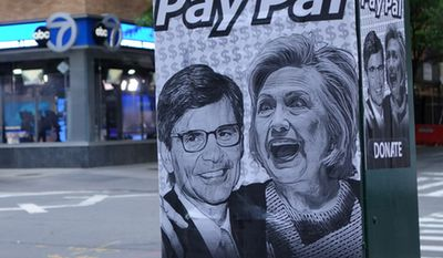 'PayPal' signs with George Stephanopoulos and Hillary Clinton are popping up outside ABC's studios in New York City. The journalist was criticized for not disclosing $75,000 he made to The Clinton Foundation while reporting on the Clinton's and their foundation. (Image: Twitter, Mark Hemingway, The Weekly Standard) ** FILE **
