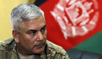 General John F. Campbell commander of international forces in Afghanistan speaks during a press conference in Kabul, Afghanistan, Saturday, May 23, 2015. Campbell said the Islamic State group is actively recruiting in Afghanistan but is not yet operational there. (Associated Press) ** FILE **