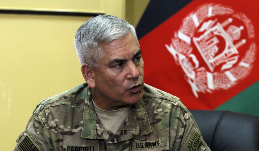 General John F. Campbell, commander of international forces in Afghanistan, speaks during a press conference in Kabul, Afghanistan, Saturday, May 23, 2015. (AP Photo/Allauddin Khan) ** FILE **
