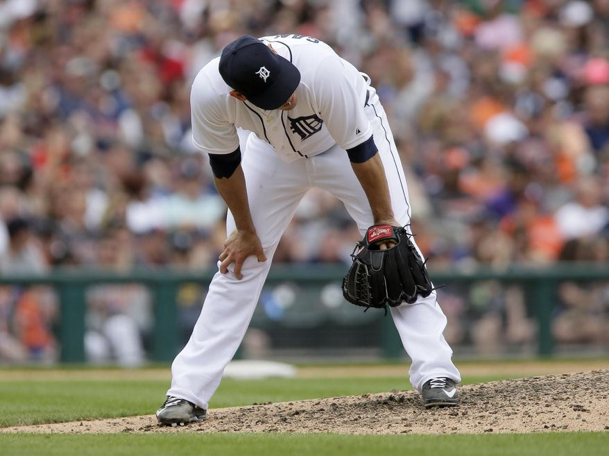 Detroit Tigers pitcher Anibal Sanchez reacts after giving up a three-run home run to Houston Astros' Preston Tucker during the sixth inning of a baseball game Sunday, May 24, 2015, in Detroit. The Astros defeated the Tigers 10-8. (AP Photo/Duane Burleson)