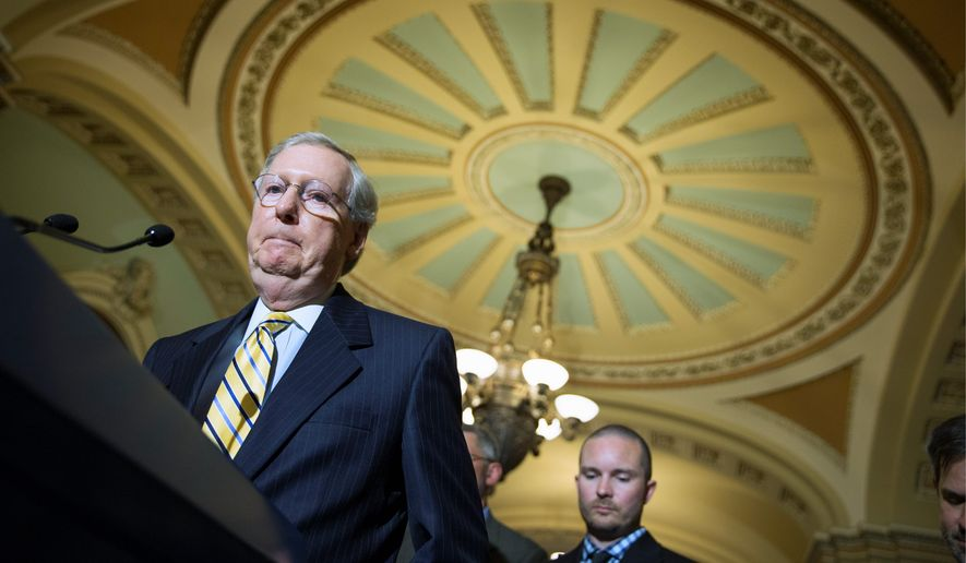 Senate Majority Leader Mitch McConnell is locked in a fierce battle with Kentucky seatmate Rand Paul over extending the phone-snooping powers of the Patriot Act, which Mr. Paul opposes. (Associated Press)