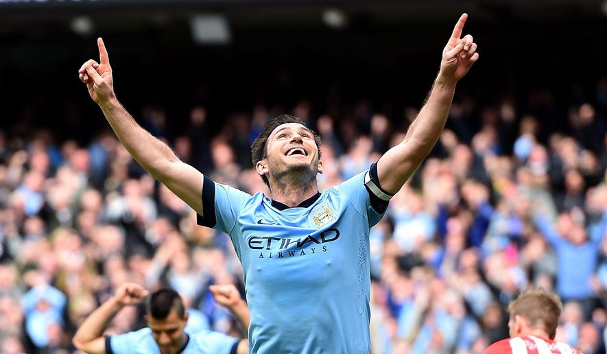 Manchester City's Frank Lampard celebrates scoring against Southampton during the English Premier League soccer match at the Etihad Stadium, Manchester, England, Sunday May 24, 2015. (Martin Rickett/PA via AP) UNITED KINGDOM OUT  NO SALES  NO ARCHIVE