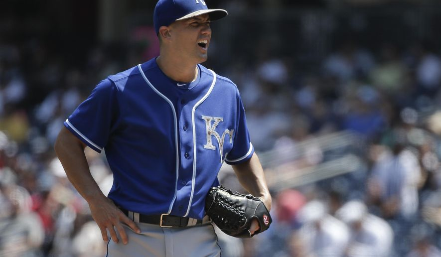 Kansas City Royals pitcher Jeremy Guthrie (11) reacts after giving up a three-run home run to New York Yankees' Brett Gardner during the first inning of a baseball game, Monday, May 25, 2015, in New York. (AP Photo/Julie Jacobson)