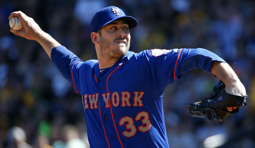 New York Mets starting pitcher Matt Harvey (33) delivers in the first inning of a baseball game against the Pittsburgh Pirates in Pittsburgh, Saturday, May 23, 2015. (AP Photo/Gene J. Puskar)