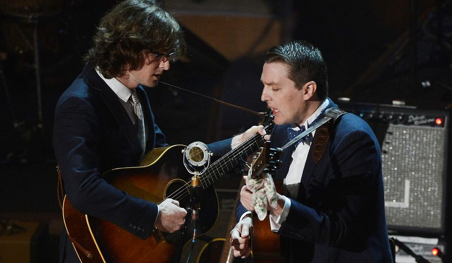 "The Milk Carton Kids, Joey Ryan (left) and Kenneth Pattengale, wrote and recorded their latest album, ""Monterey,"" while on the road. Among their fans is Emmylou Harris, who included them at her January tribute at DAR Constitution Hall in D.C. (Associated Press)"