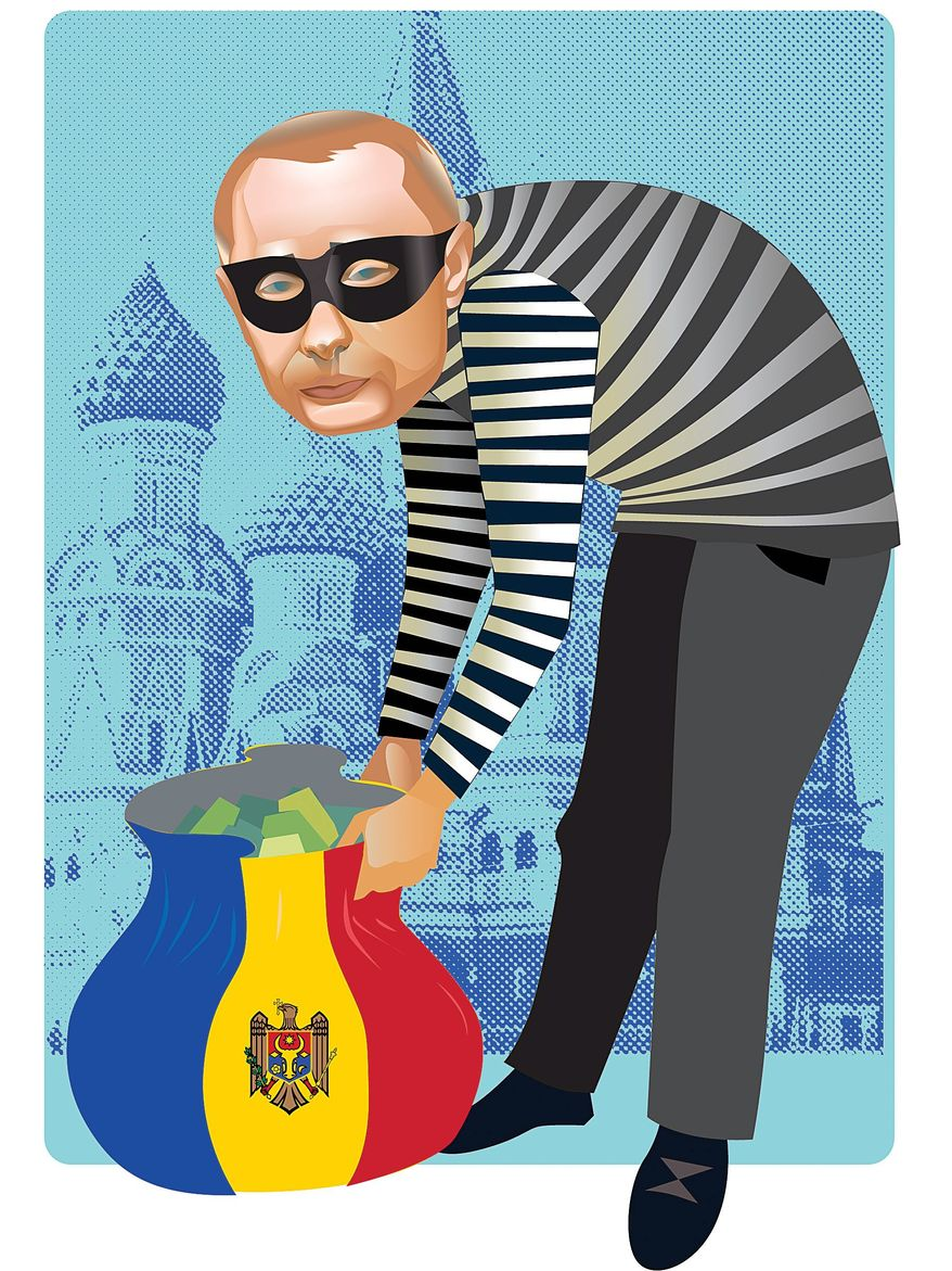 Illustration on missing Muldovan bank funds by Linas Garsys/The Washington Times